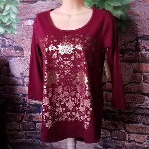 Cranberry Gold Foil Floral Print 3/4 Sleeve Top